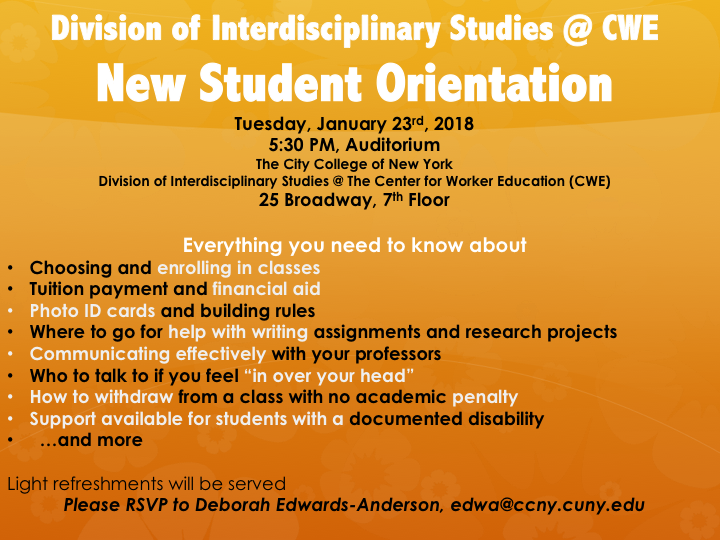 CWE New Student Orientation 1/123/18