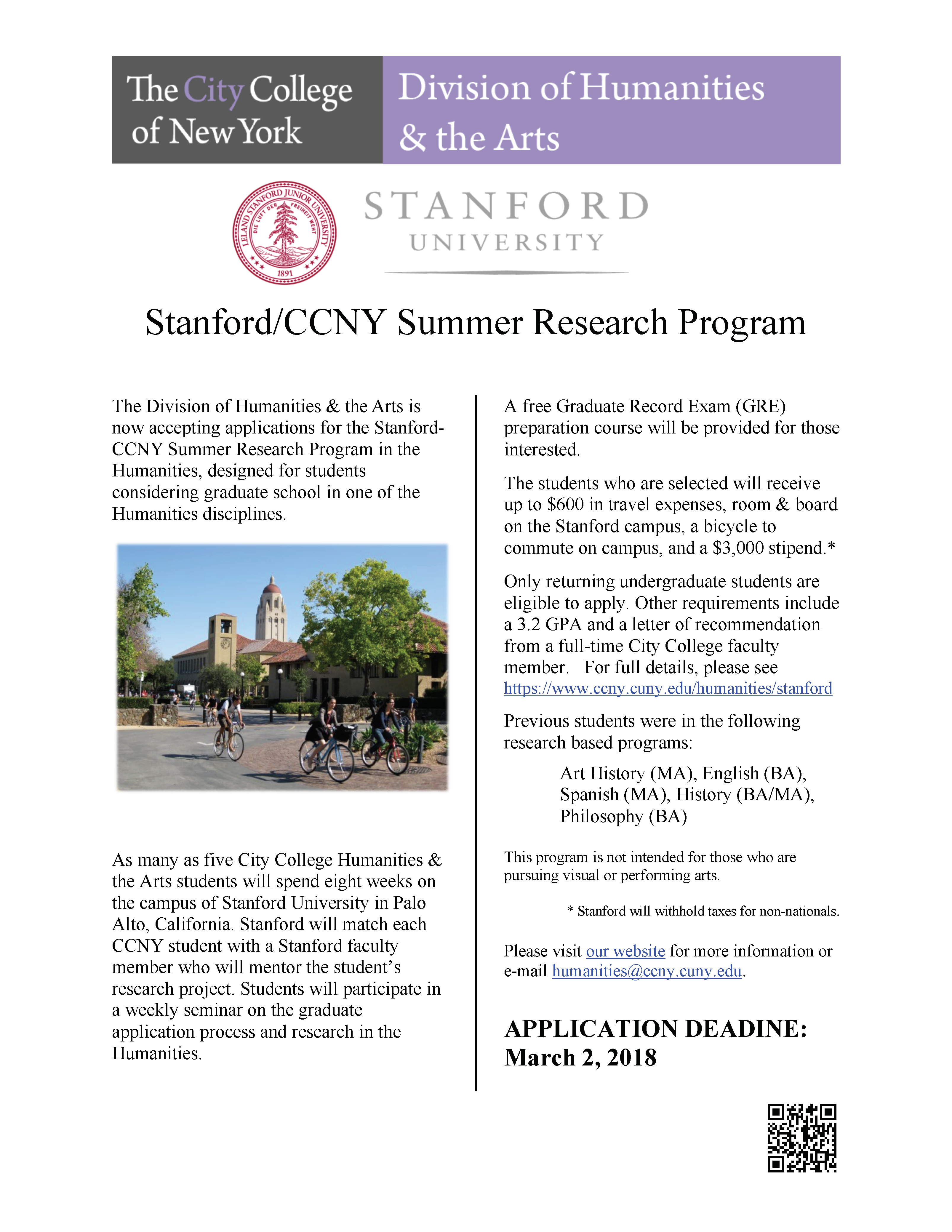 Stanford-CCNY Summer Research in the Humanities Program