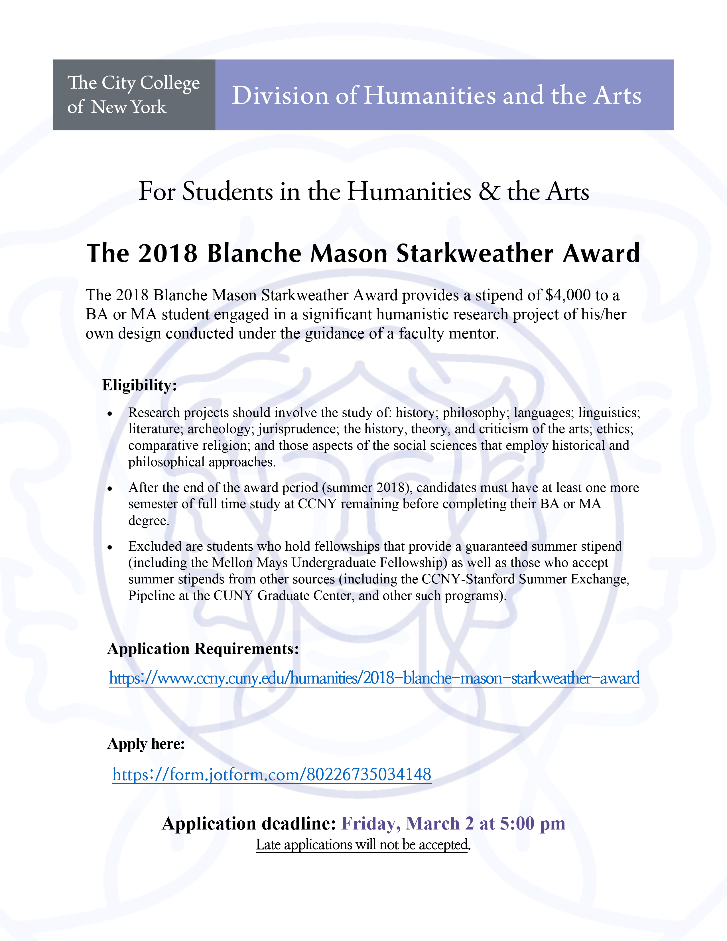 2018 Blanche Mason Starkweather Award