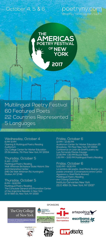 Program for The Americas Poetry Festival of New York 2017