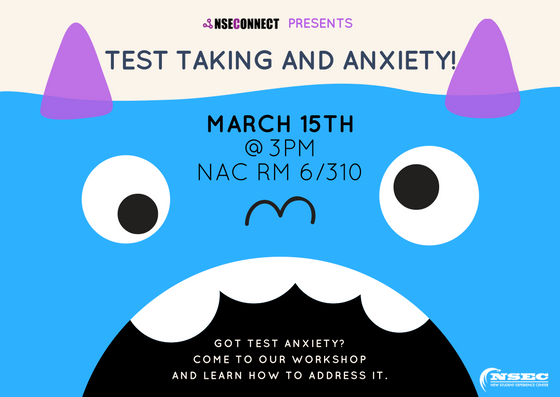 test taking and anxiety flyer with a blue monster as the background