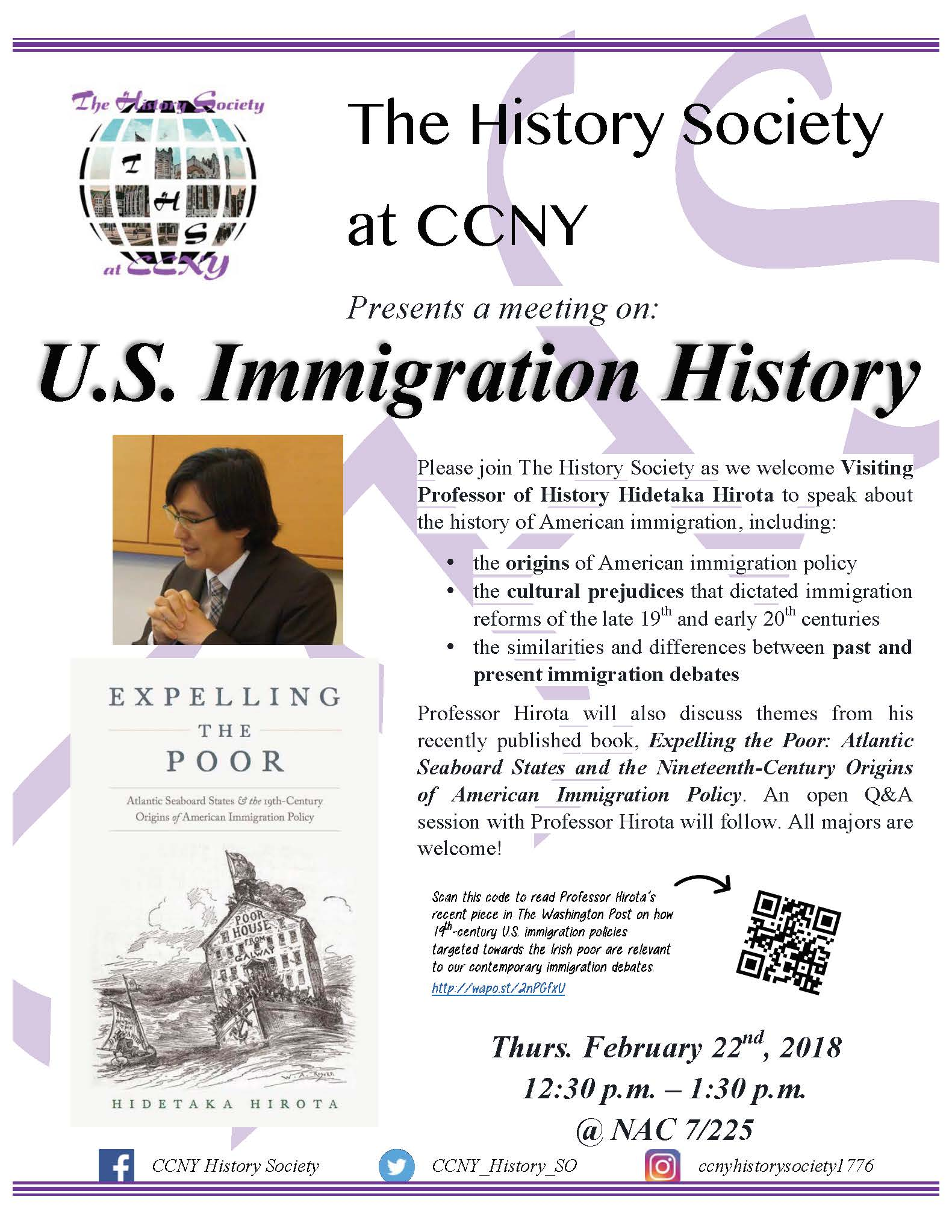 The History Society - U.S. Immigration History - Feb 22nd