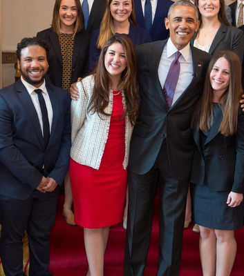 CCNY's Troy Blackwell [left] and fellow White House interns with President Obama.