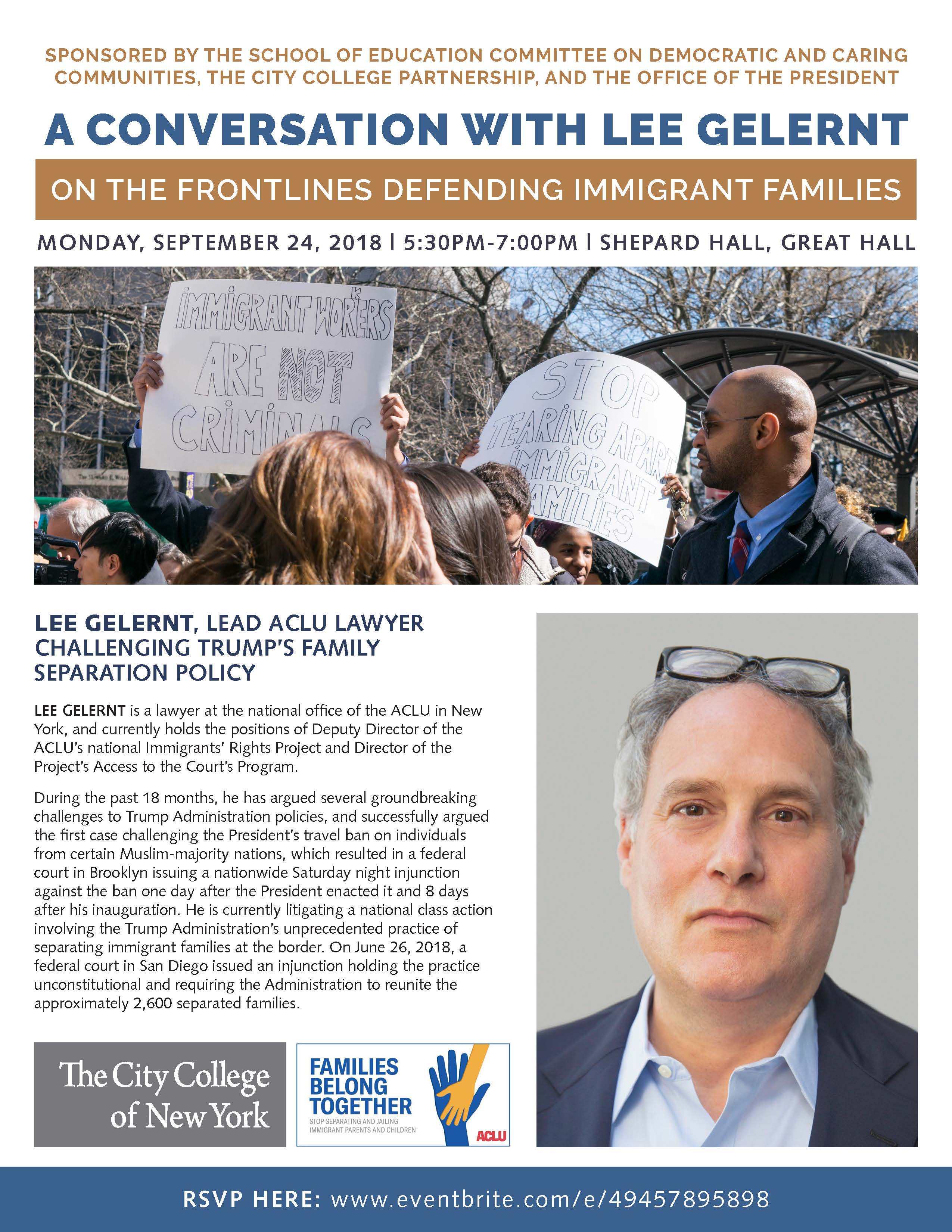 LEE GELERNT, LEAD ACLU LAWYER CHALLENGING TRUMP'S FAMILY SEPARATION POLICY PROMOTION