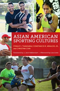 Two Asian men in black jerseys hold a soccer ball. An Asian woman is training for an MMA fight. An Asian man in a red and white baseball tee holds a catcher's mitt. A series of Asian women run after a women in the center holding a football.
