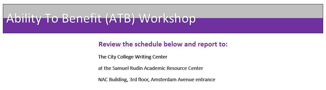 ATB Workshop Information