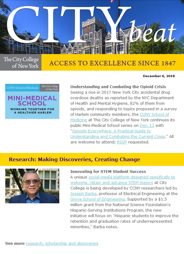 """CCNY Harris Hall with blue sky and flagpole; CUNY School of Medicine at CCNY graphic that reads """"Mini-Medical School: Working Together for a Healthier Harlem""""; Professor Joseph Barba outside Shepard Hall"""