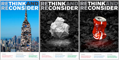 Rethink and Reconsider recycling poster