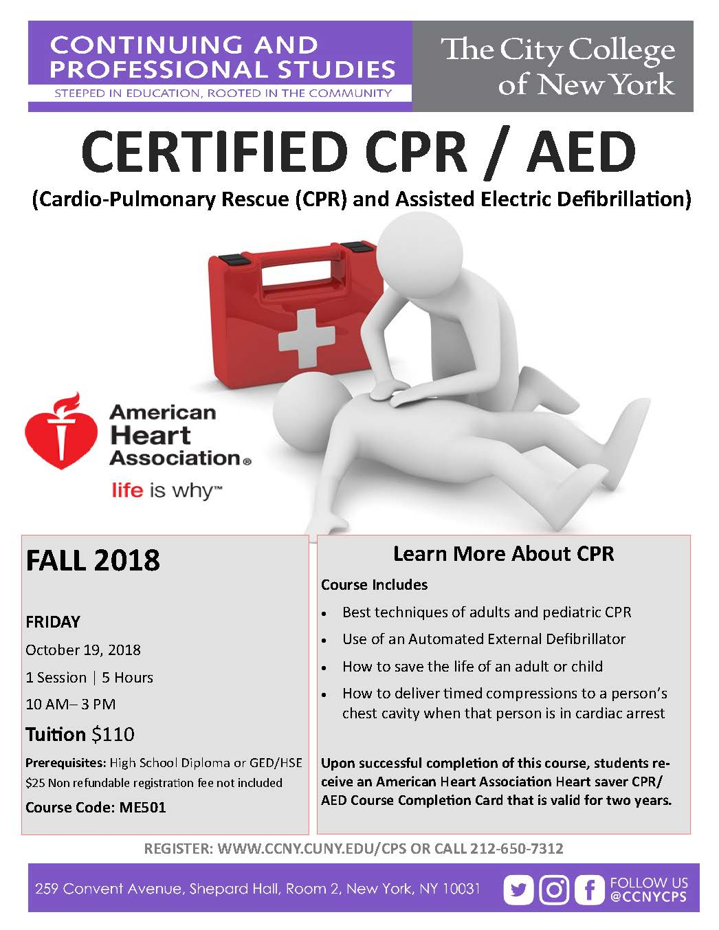 CPR/AED Fall 2018 Course