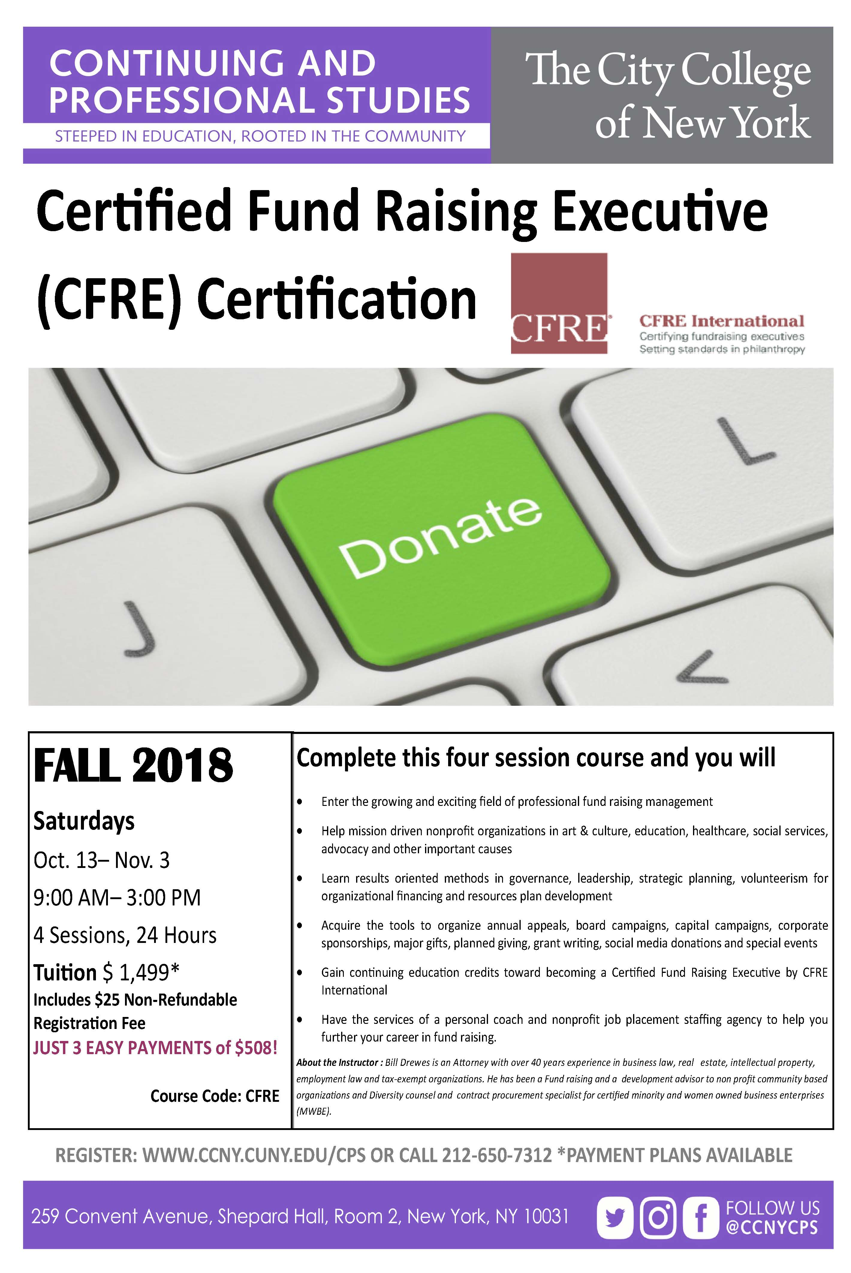 Certified Fund Raising Executive Cfre Certification The City