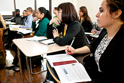 Students attend a seminar.