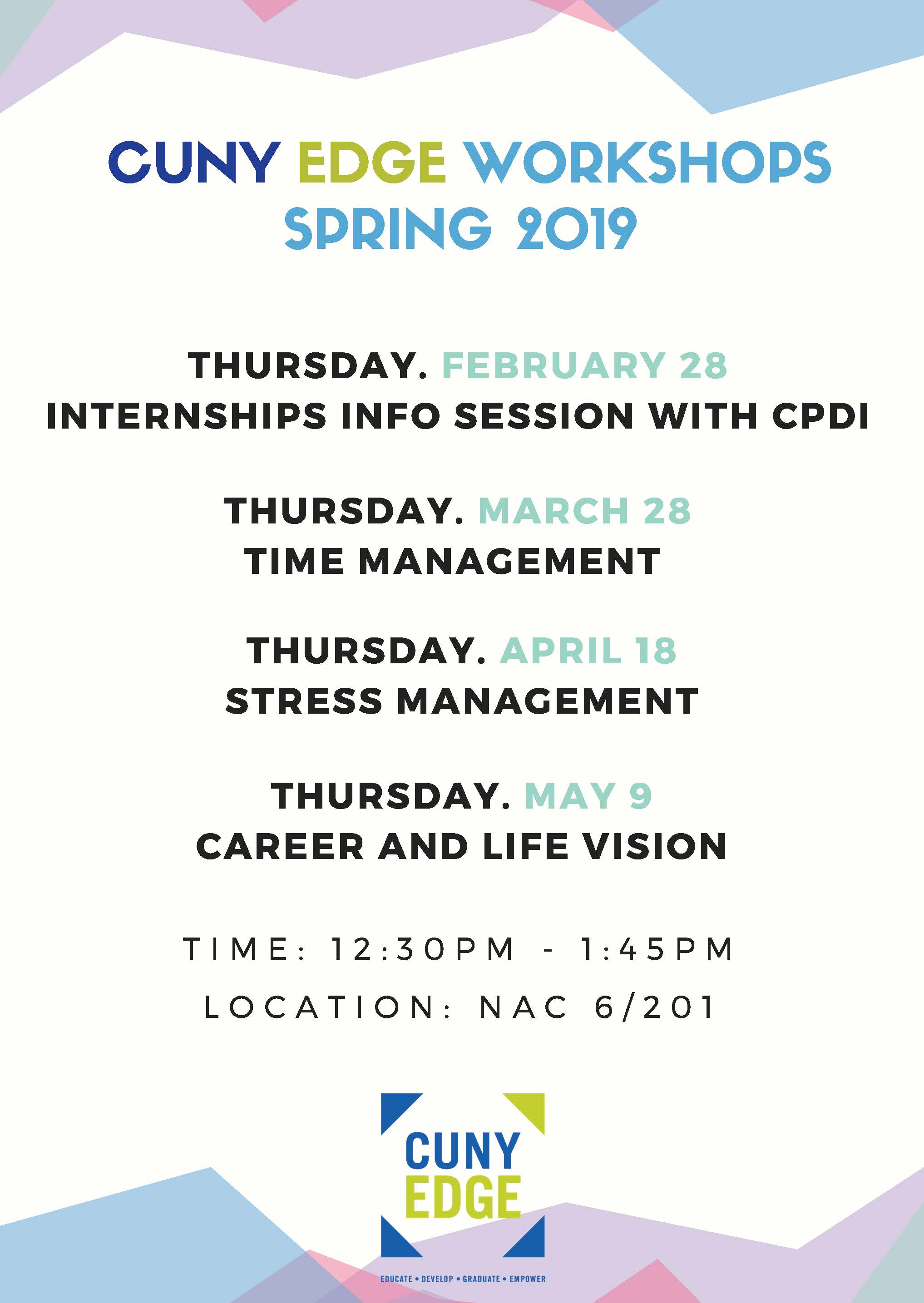 CUNY EDGE Spring 2019 Events