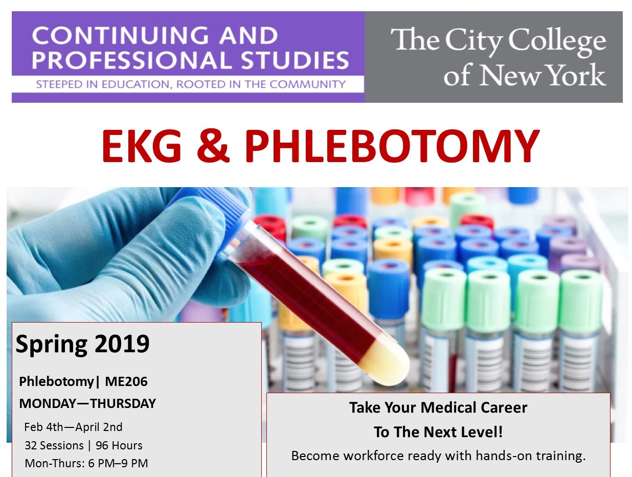 New course offerings from Continuing and Professional Studies at CCNY include Phlebotomy