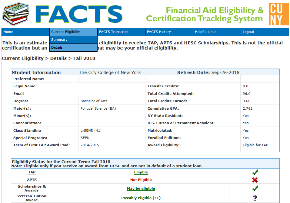 Image of details page showing eligible financial aid packages