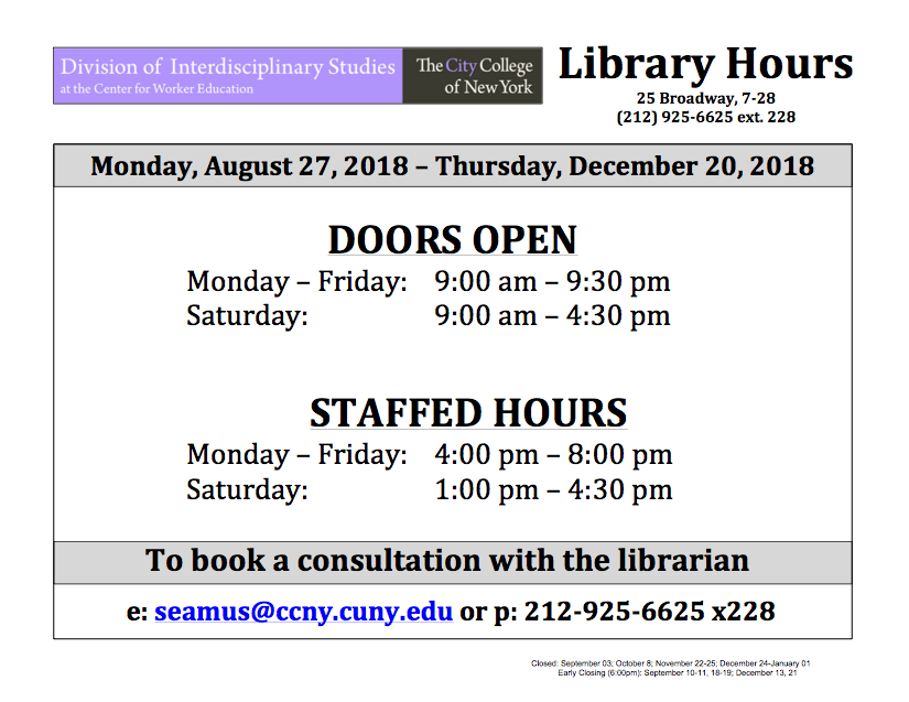 CWE Fall 2018 Library Hours