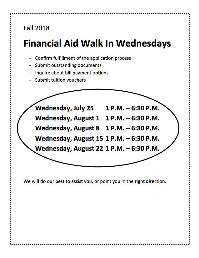 CWE Financial Aid Walk In Wednesdays