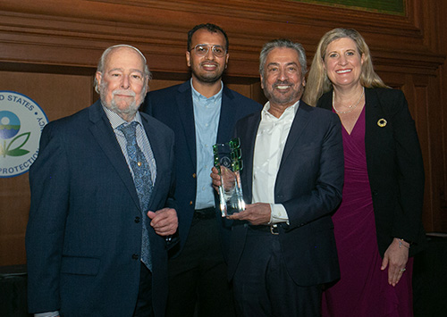 Sanjoy Banerjee, Distinguished Professor of Chemical Engineering at CCNY, holds the Green Chemistry Challenge Academic Award presented to him by the U.S. Environmental Protection Agency