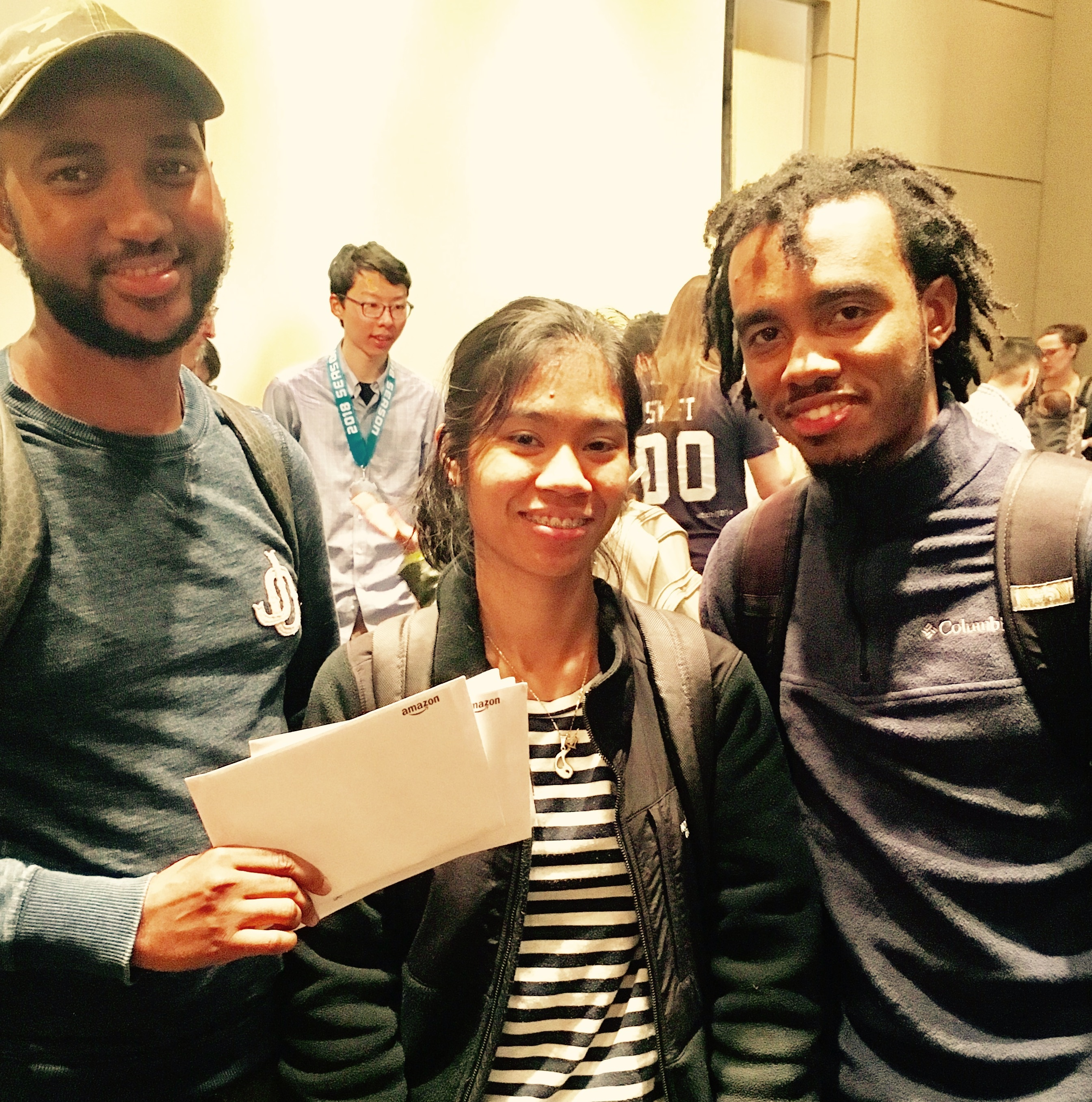 hackNY winners, left to right, Amarou Bah, Kirstyn Natavio and Dwayne Johnson