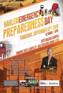 Promotional flyer for Harlem Emergency Preparedness Event Thursday Sept. 13, 2018 from noon to 4pm at the CCNY NAC Building Room 513 on the first floor