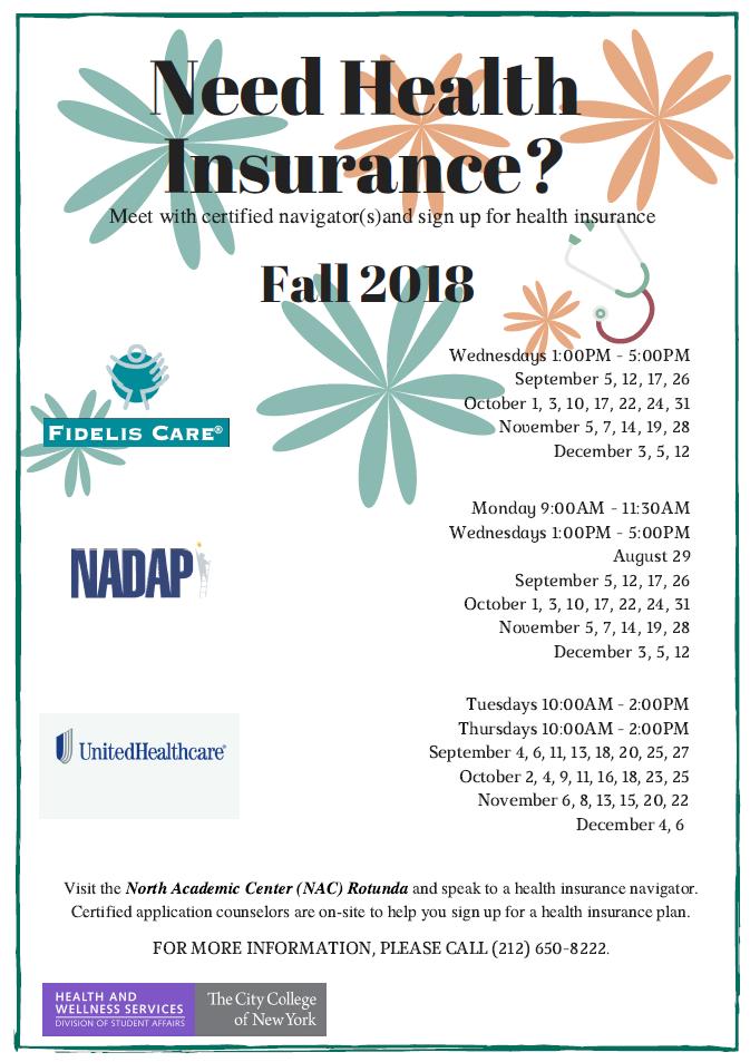 Health Insurance Fall 2018 Schedule