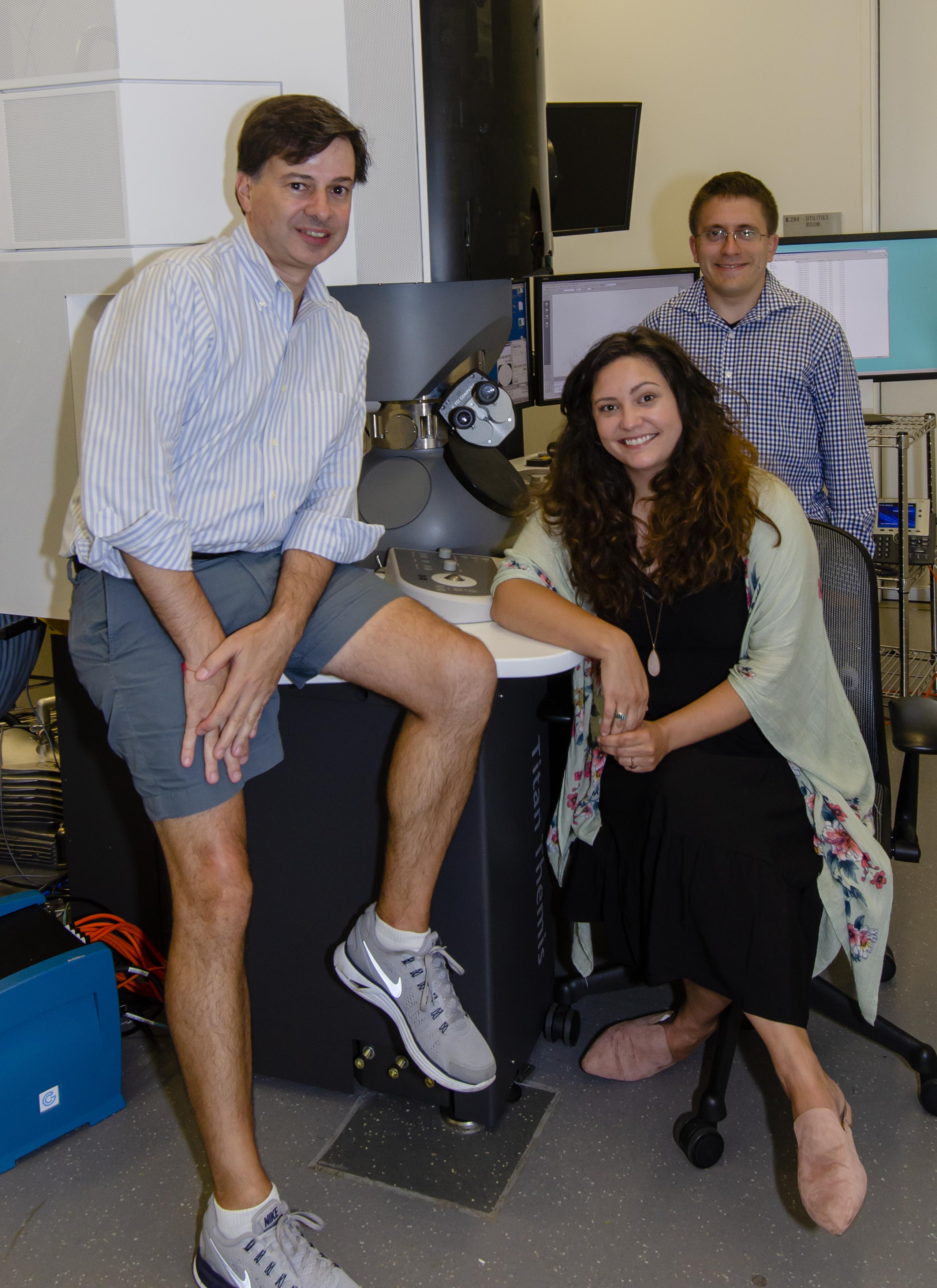 David Jeruzalmi, Jillian Chase, and Silas Harley in the Structural Biology Center