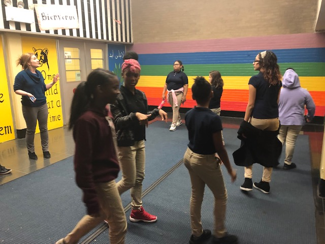 PS 161 students rehearsing for High School Musical Jr.
