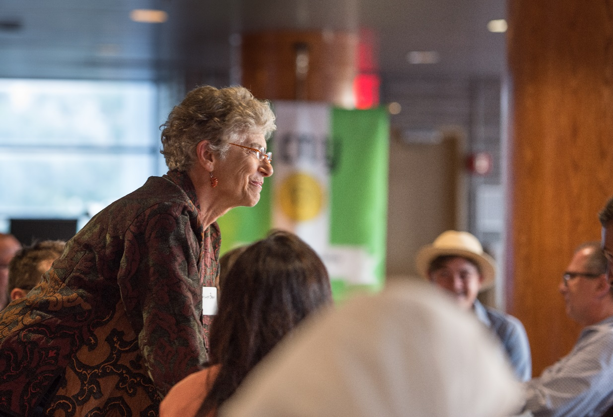 the image shows Program Director Hillary Brown at the new student orientation. she is smiling while responding to a student's question. in the background is the bright green CCNY banner for the MS in Sustainability program displayed during Commencement.