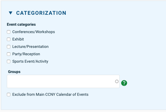 Adding calendar to events and using the categorization