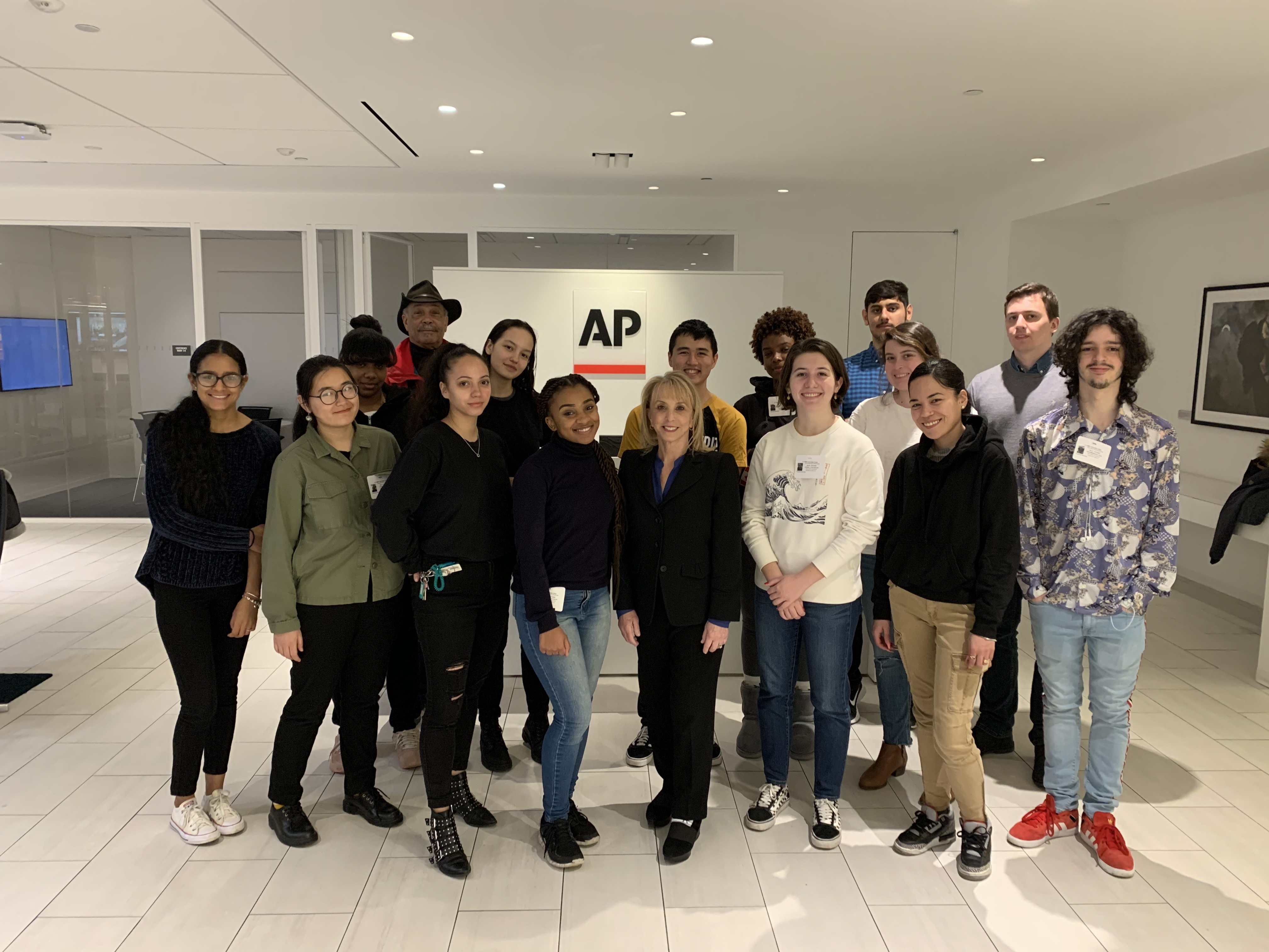 Barbara Nevins Taylor and the Spring 2020 Introduction to Journalism Class at the Associated Press