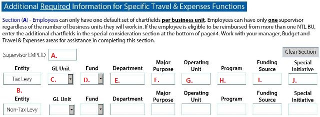 Additional Required Information for Specific Travel and Expenses Functions