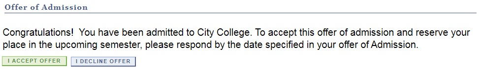 Screenshot of CCNY offer of acceptance on CUNYfirst