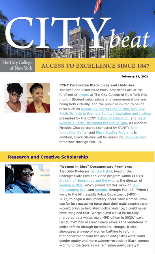 CCNY City Beat newsletter sample content 02112021 with photos of Harris Hall, Zahn Center guest speakers, and a film clip from Prof Fishel's film WOMEN IN BLUE