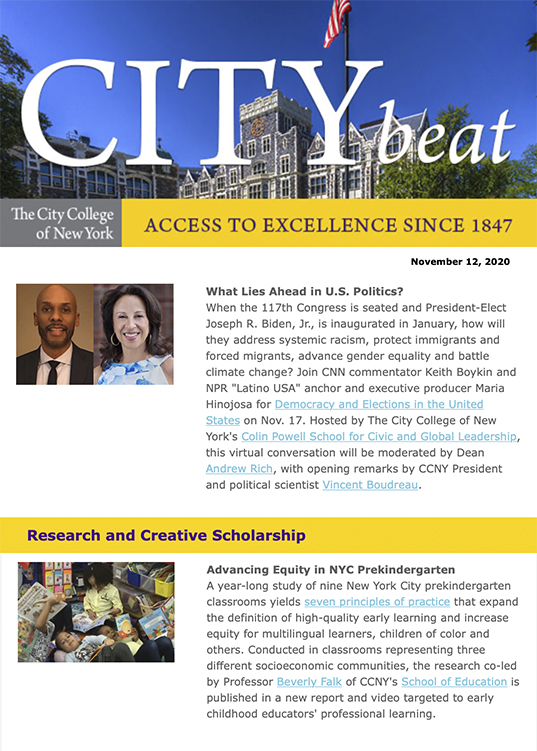 CCNY City Beat newsletter sample content with photos of Harris Hall, Keith Boykin, Maria Hinojosa, and NYC students