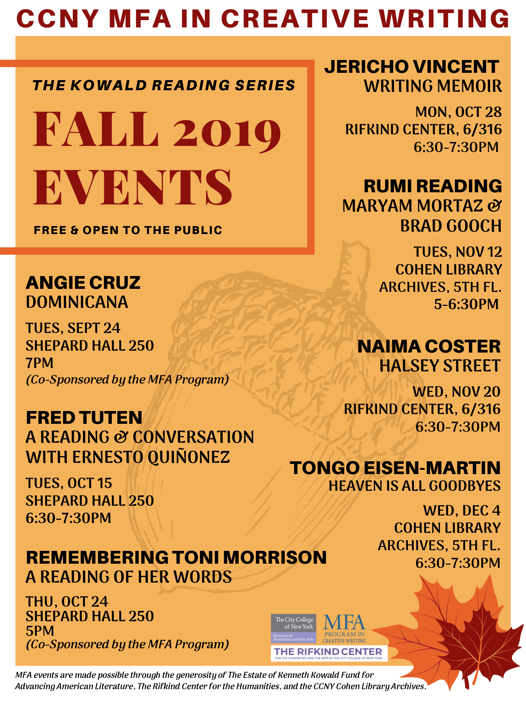 FAll 2019 Kowald Reading Series