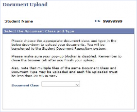 Document Upload page