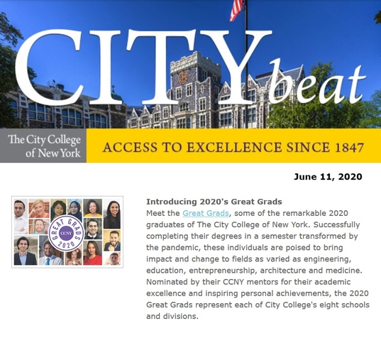 CCNY City Beat 061120 sample content with photos of Harris Hall and cover of Great Grads 2020 publication