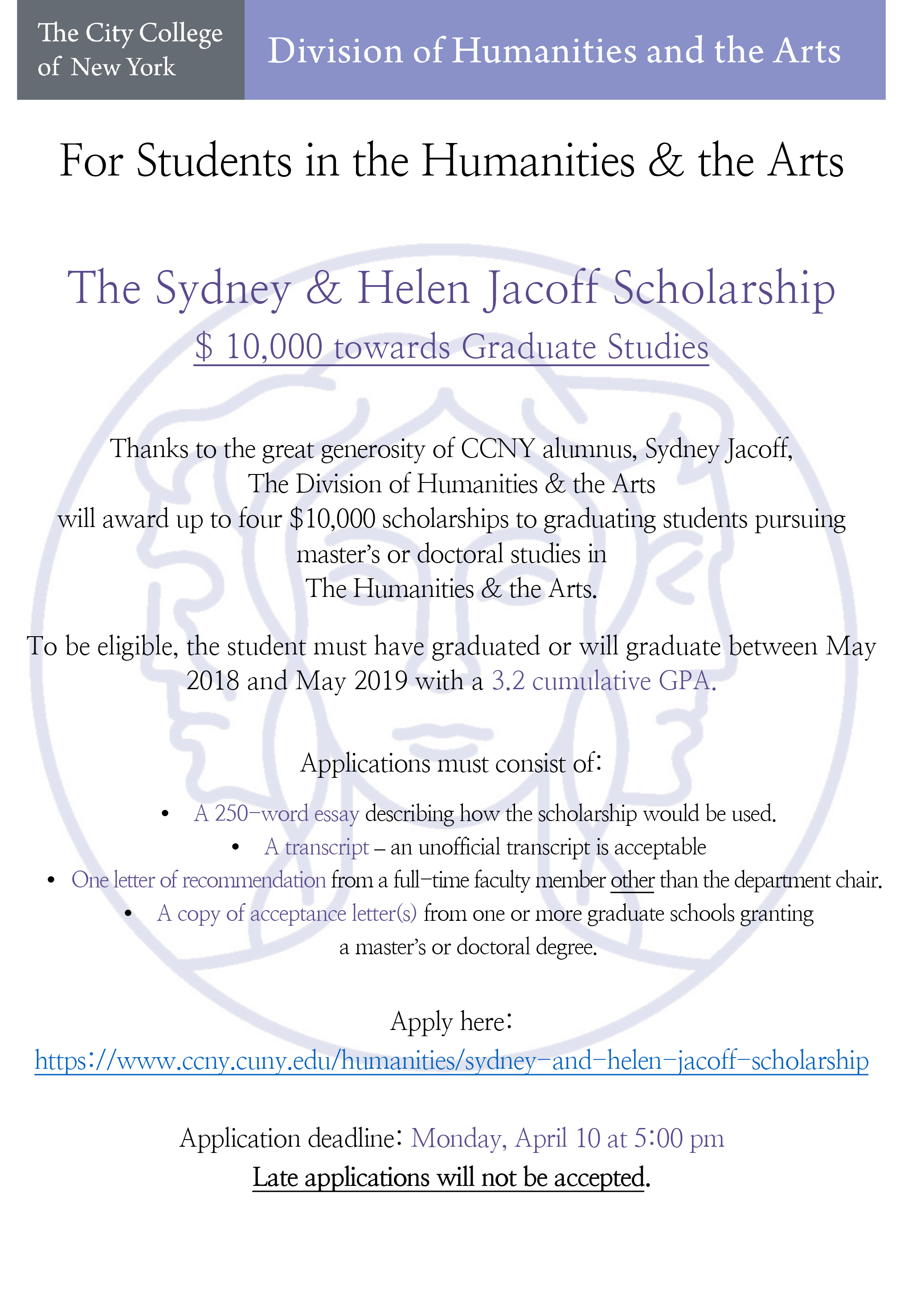 Jacoff Scholarship 2019 Announcement