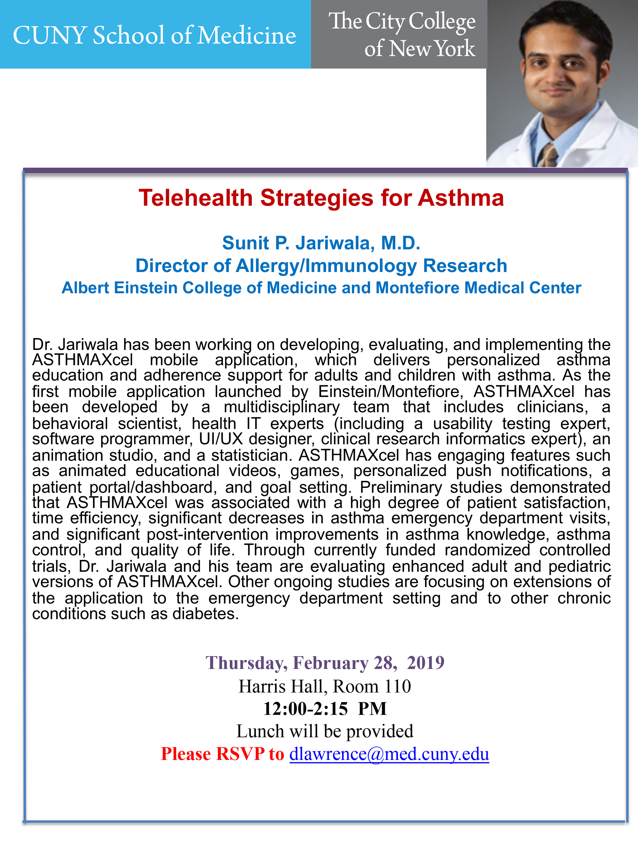 February 28 2019 Seminar Hosted by Sunit P. Jariwala, M.D. - Telehealth Strategies for Asthma