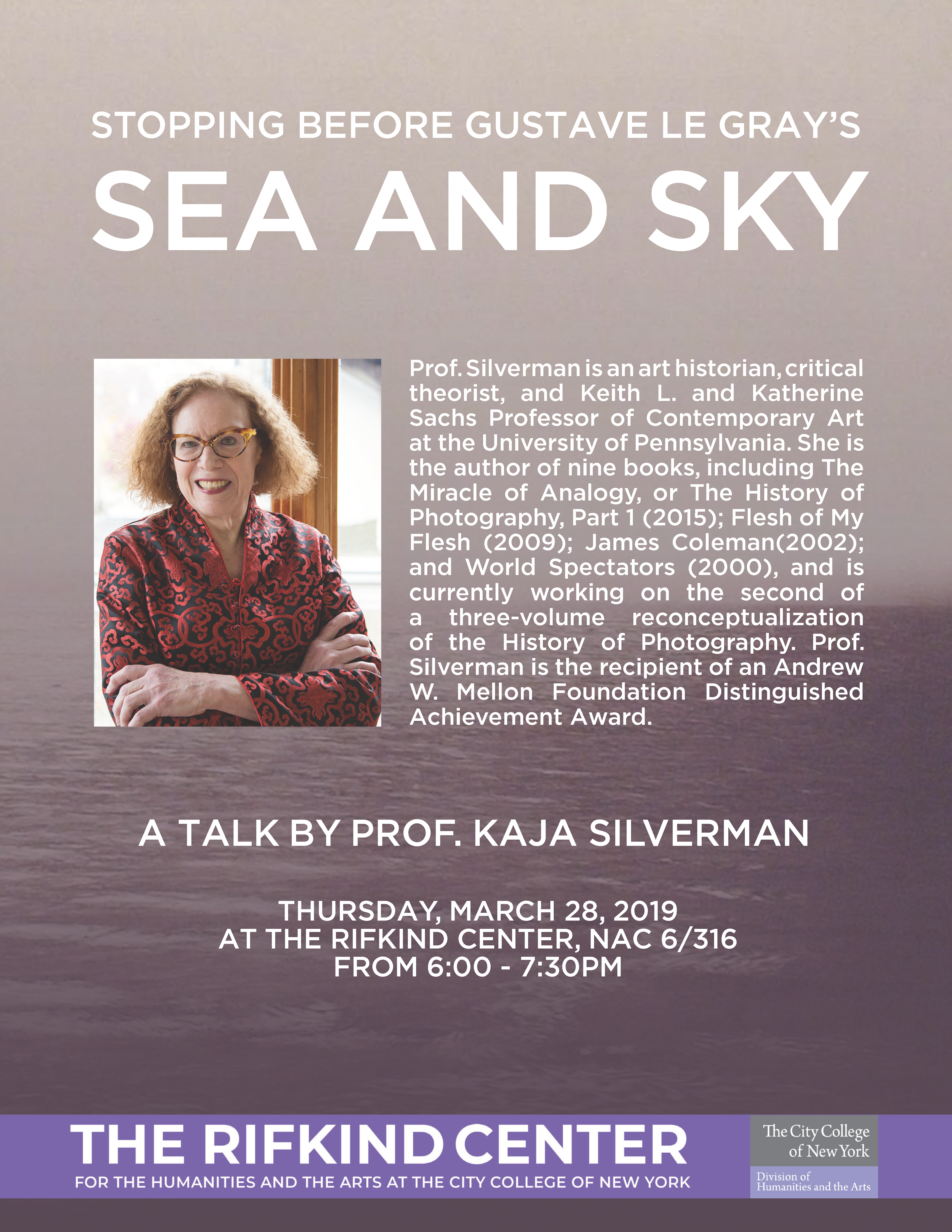 A Talk by Prof. Kaja Silverman - Stopping Before Gustave Le Gray's Sea and Sky