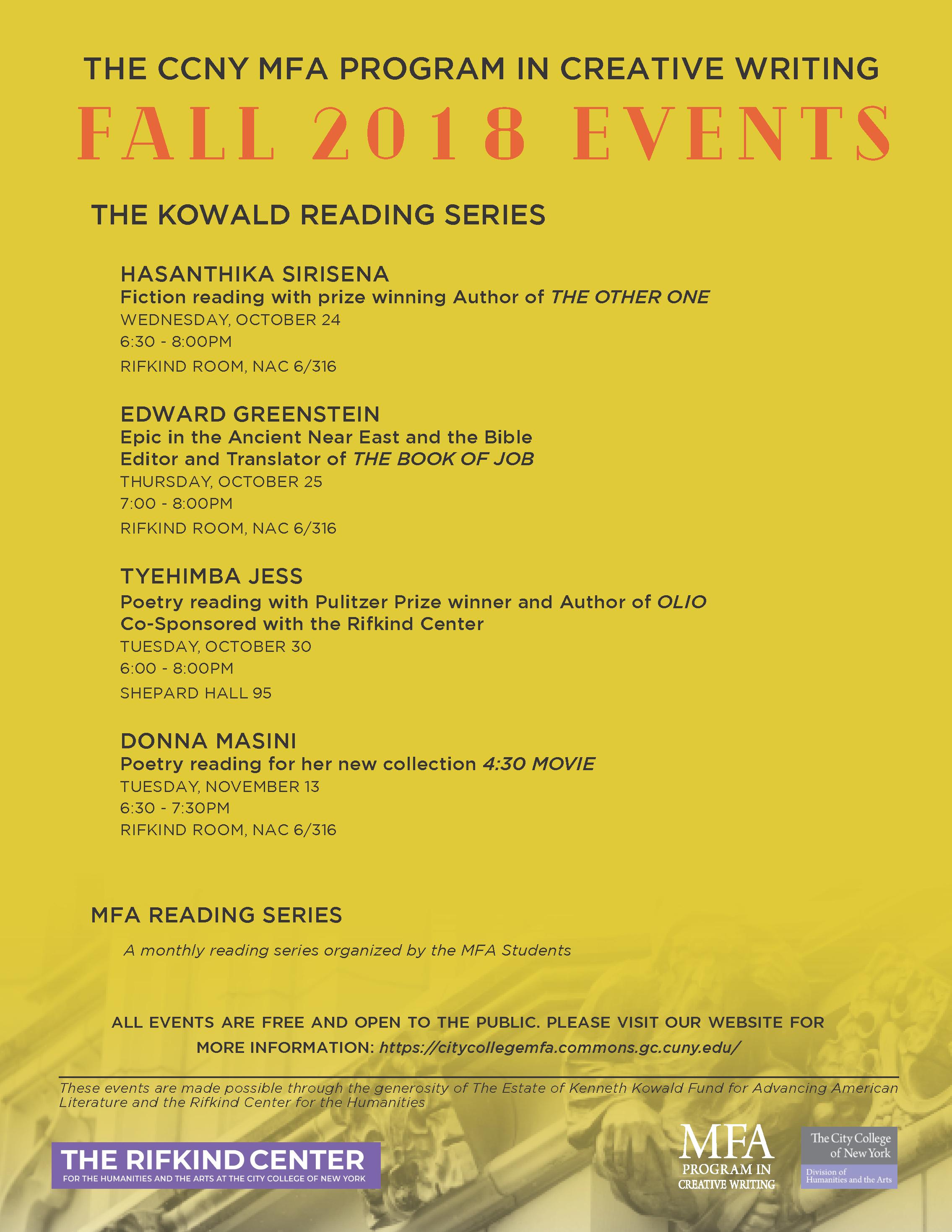Creative Writing MFA Fall 2018 Lecture-Reading Series