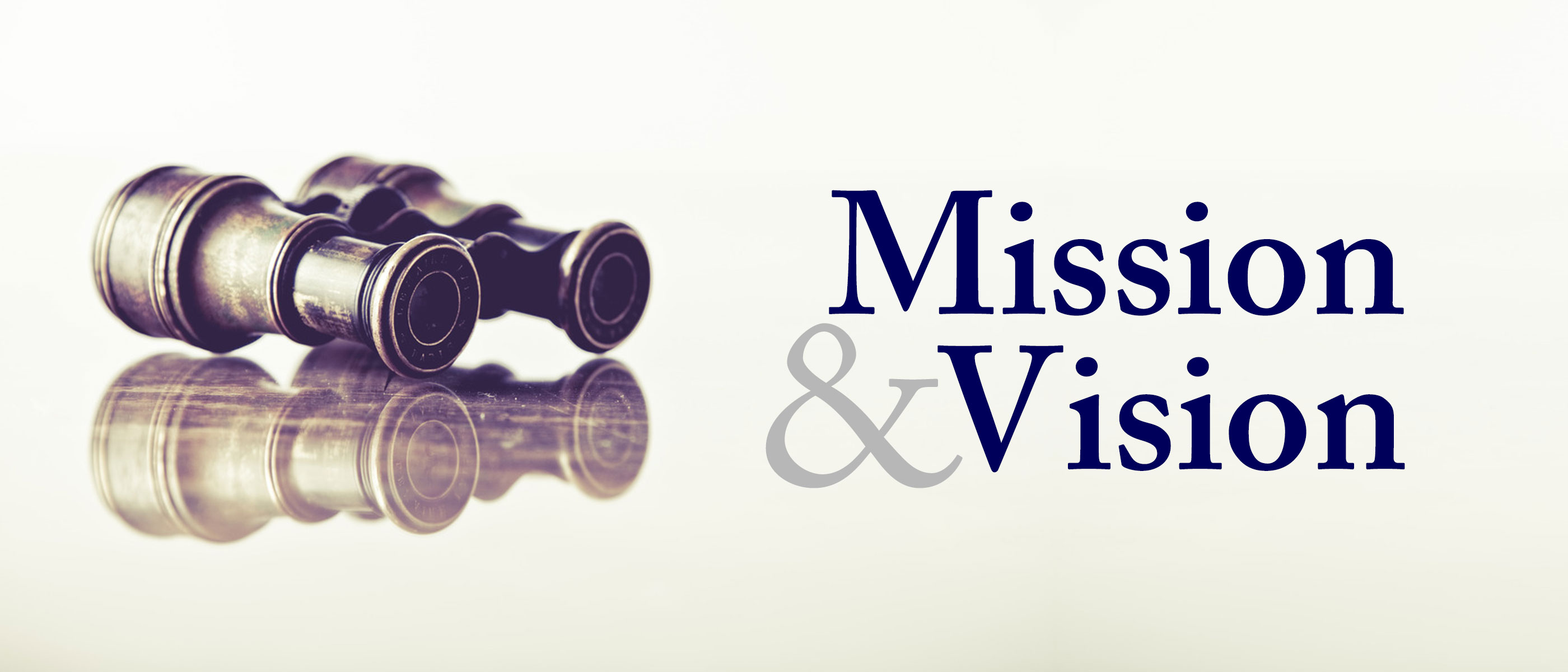 Mission and View are written at the top in Purple Lettering. the photo has a binoculars that look like they are from the 1700's. the rest is a faint cream color.