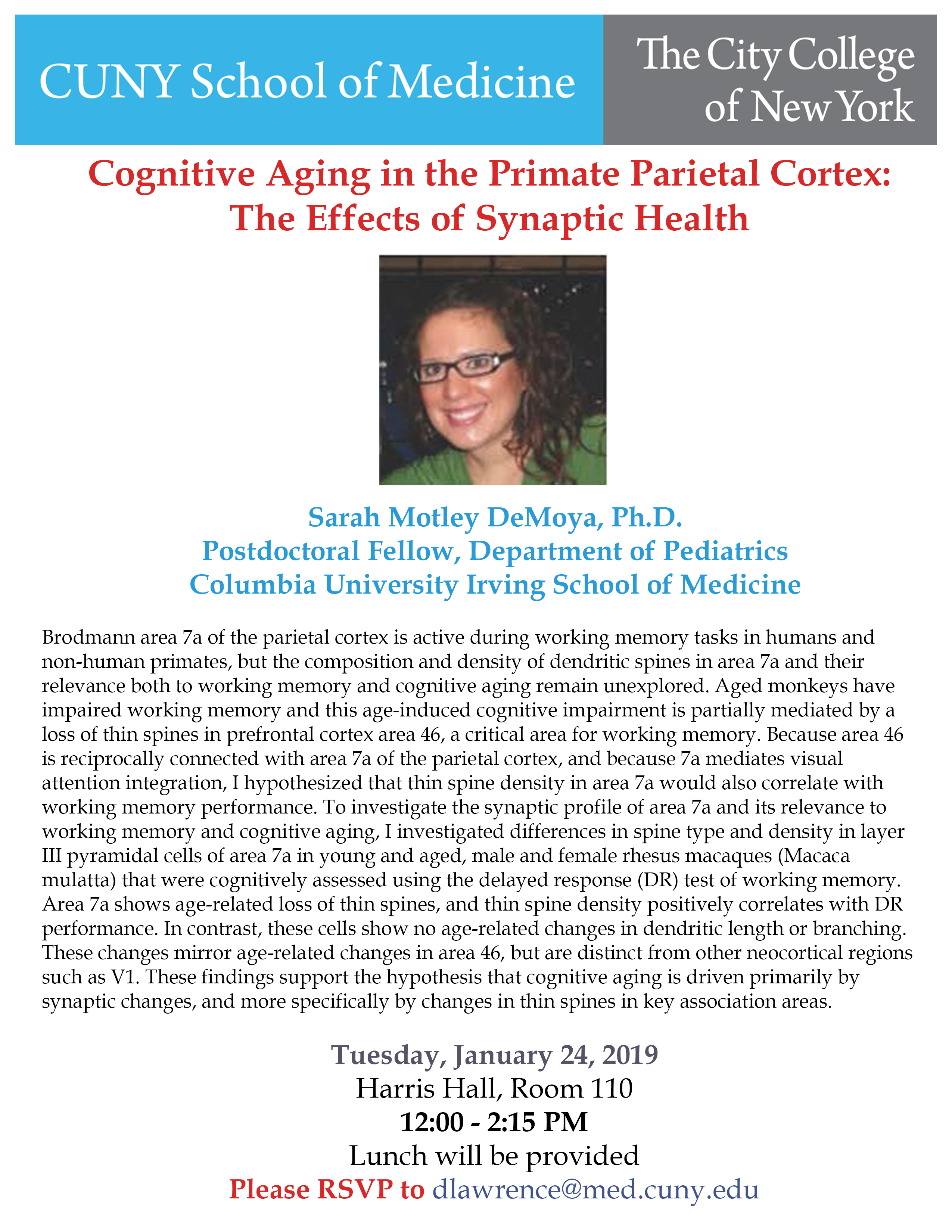 Motley Seminar - Cognitive Aging in the Primate Parietal Cortex: The effects of Synaptic Health.