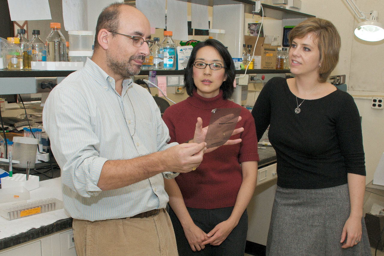 Professors Maria Binz-Scharf, right, and Leslie Paik, listen as Dean Avrom Caplan discusses his research.