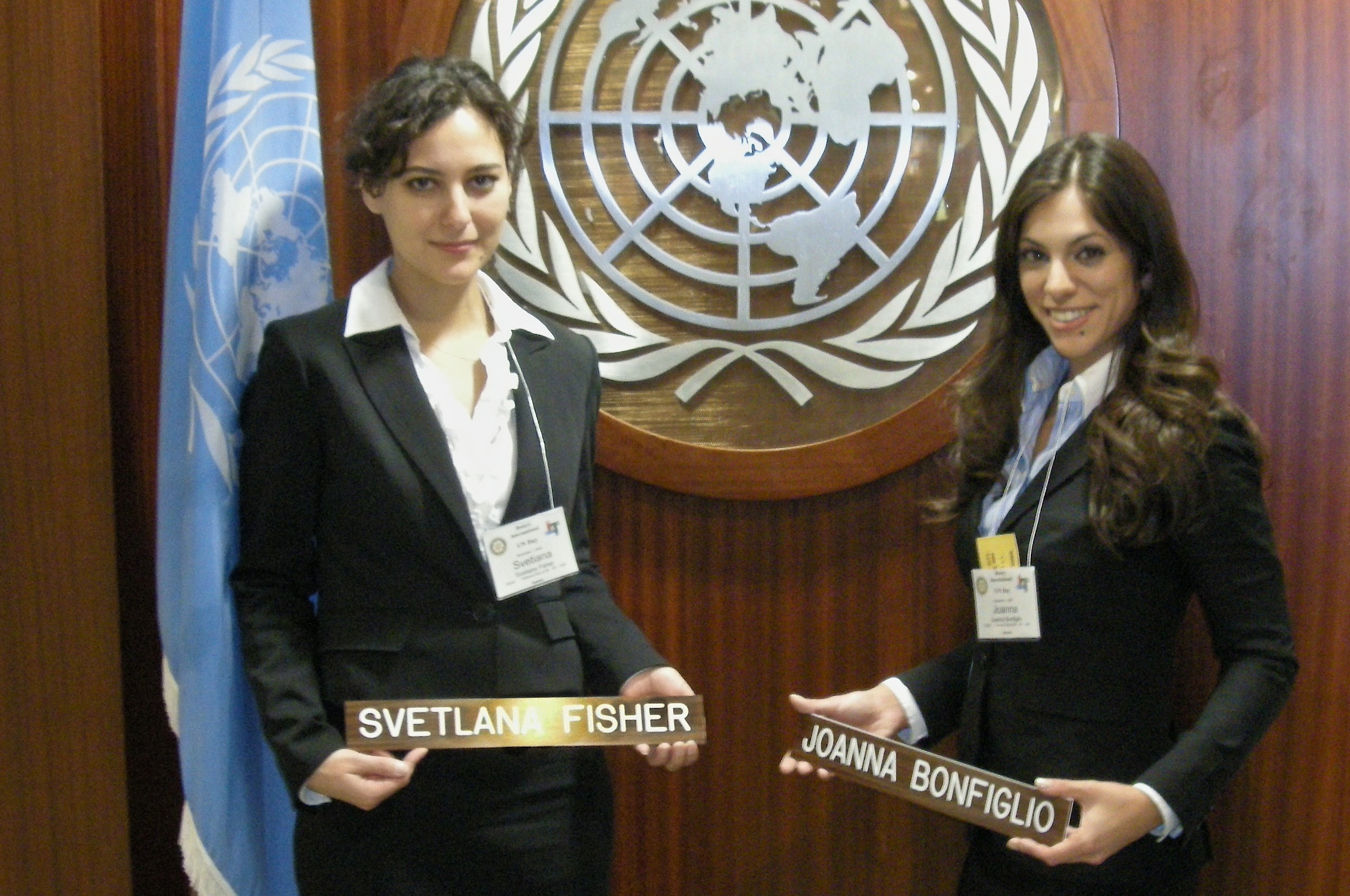 Svetlana Fisher, left, and Joanna Bonfiglio with CCNY Engineers Without Borders delivered a presentation on the group's Honduran water projects at a Rotary International panel on water issues held at the United Nations.