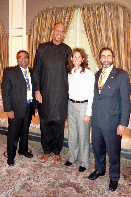 Professor Marinoff with Kareem Abdul-Jabbar, Olympic Gold Medalist Michele Smith and Philippine entrepreneur Parag Amin at Sheikh Nayhan's palace.