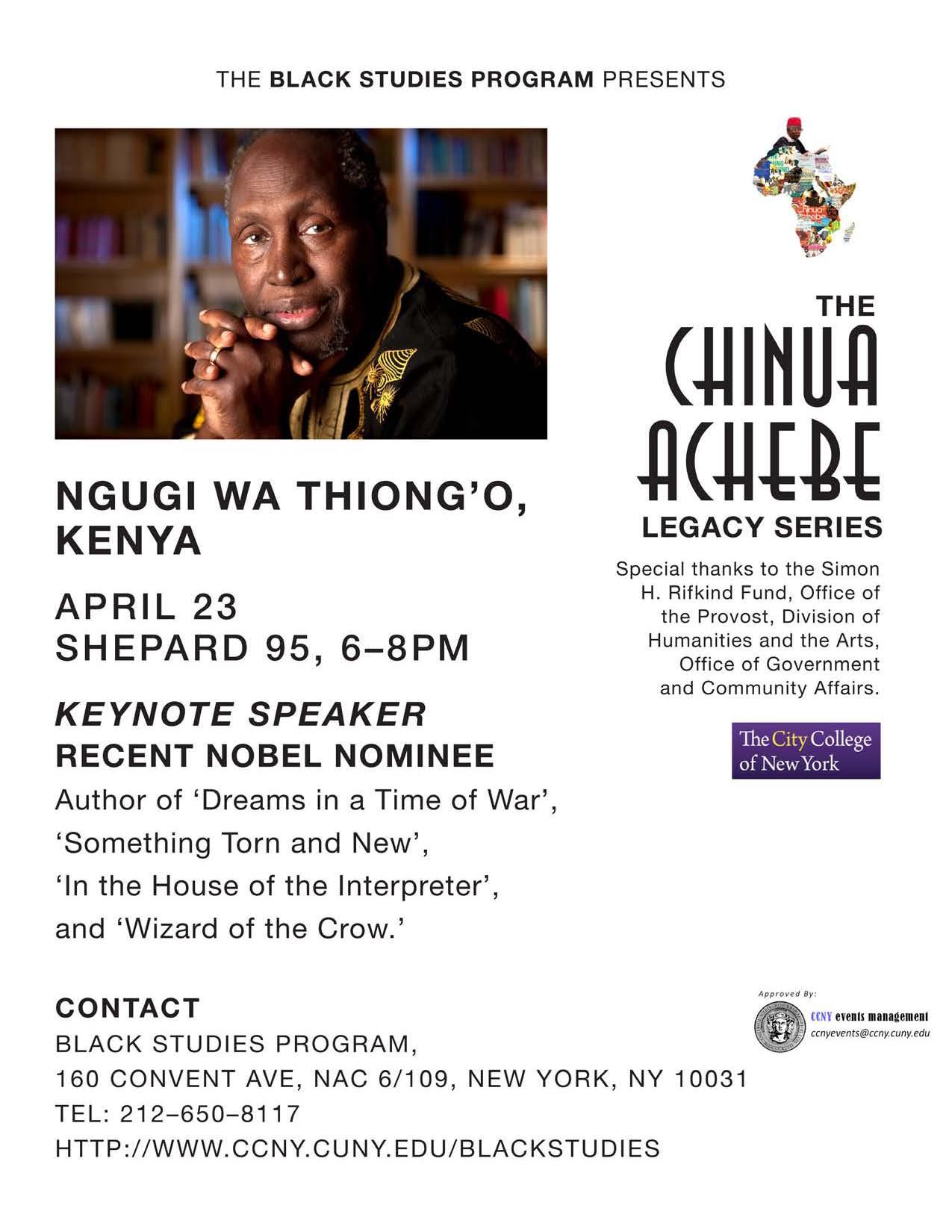 NGUGI WA THIONG'O KENYA SPEAKS APRIL 23 2017. SHEPARD ROOM 95, 6PM-9PM