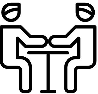icon showing two man speaking