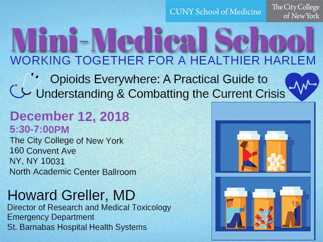 CCNY Mini-Medical School talk to address opioid crisis