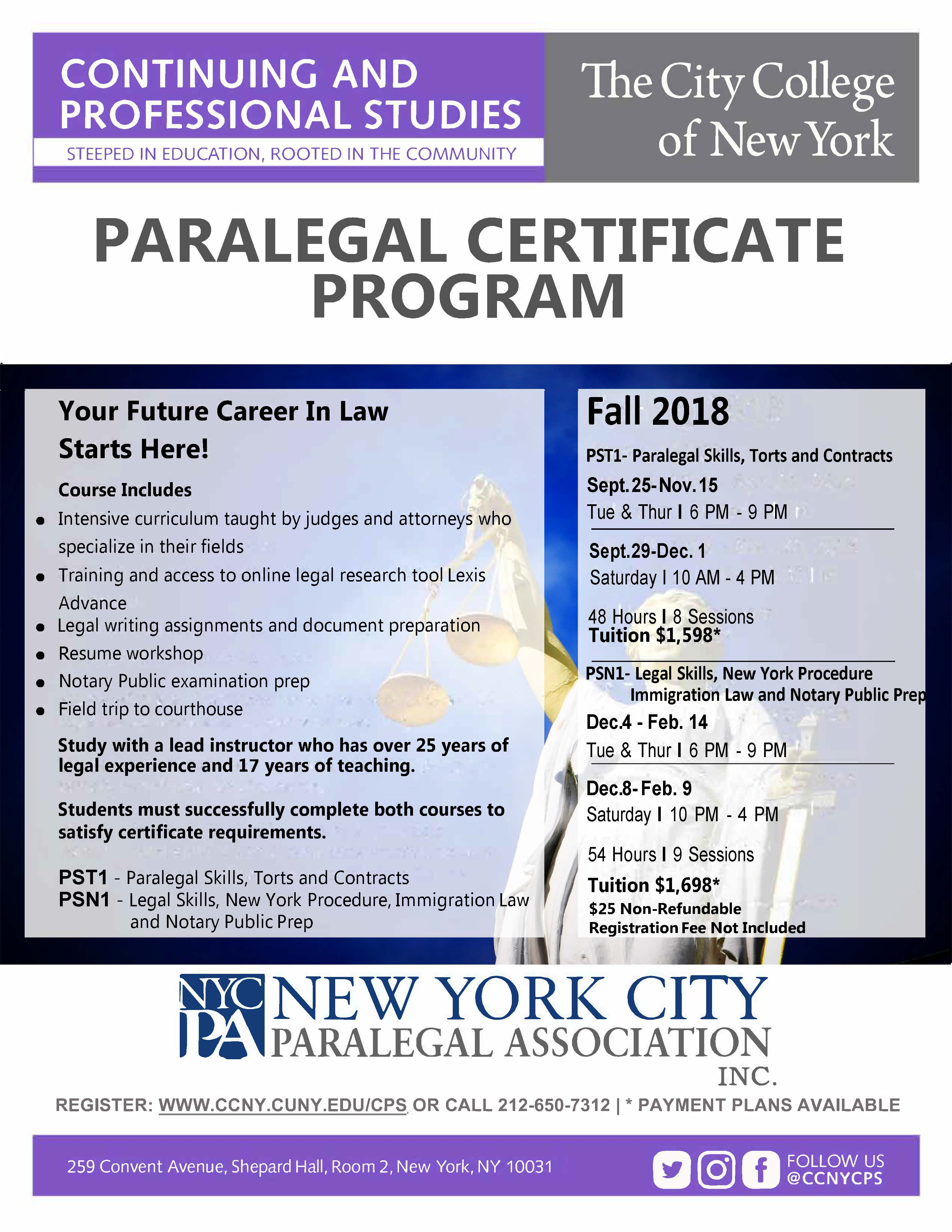 Paralegal Studies Certificate Program The City College Of New York