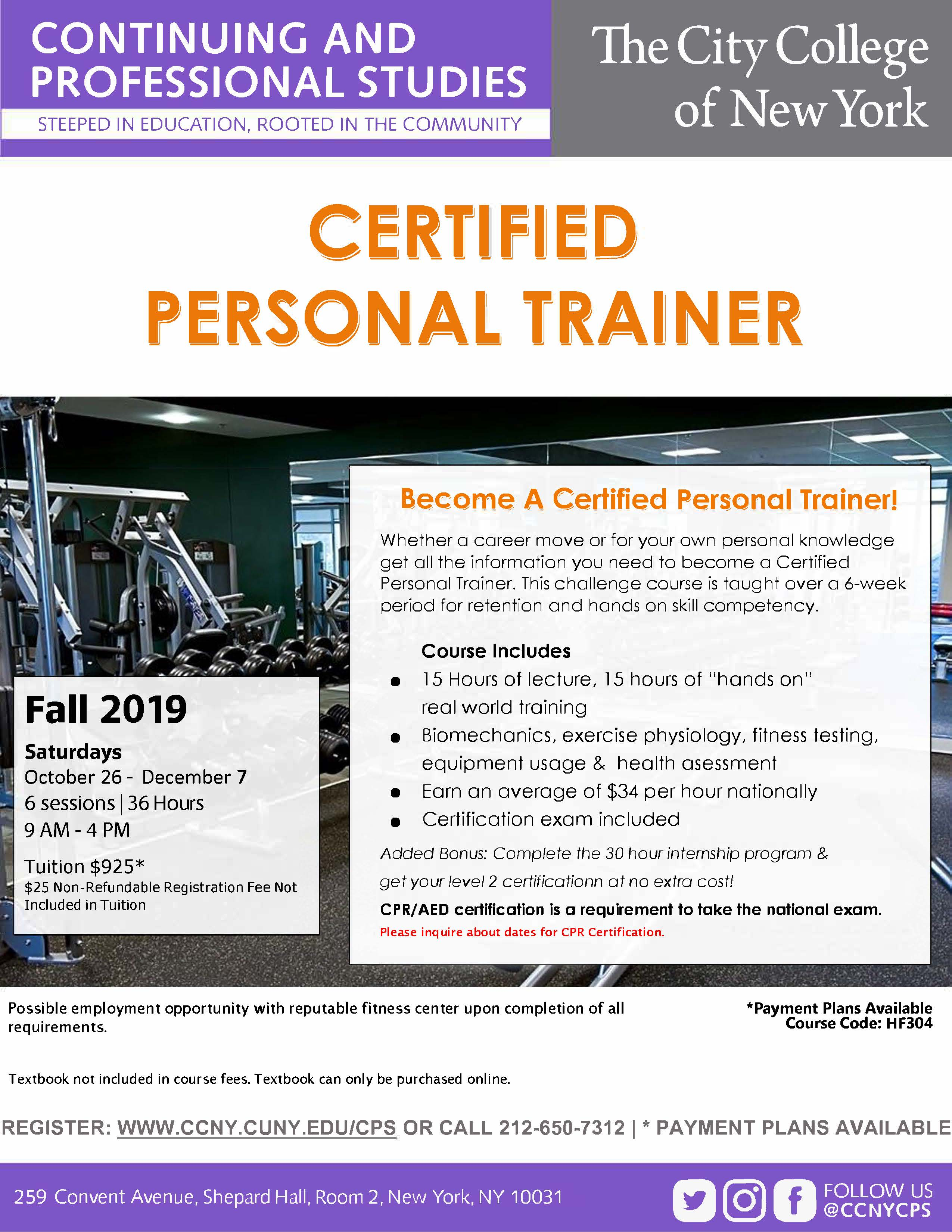 personal trainer certified certificate ged diploma hse cuny college aed cpr prerequisite receive required york